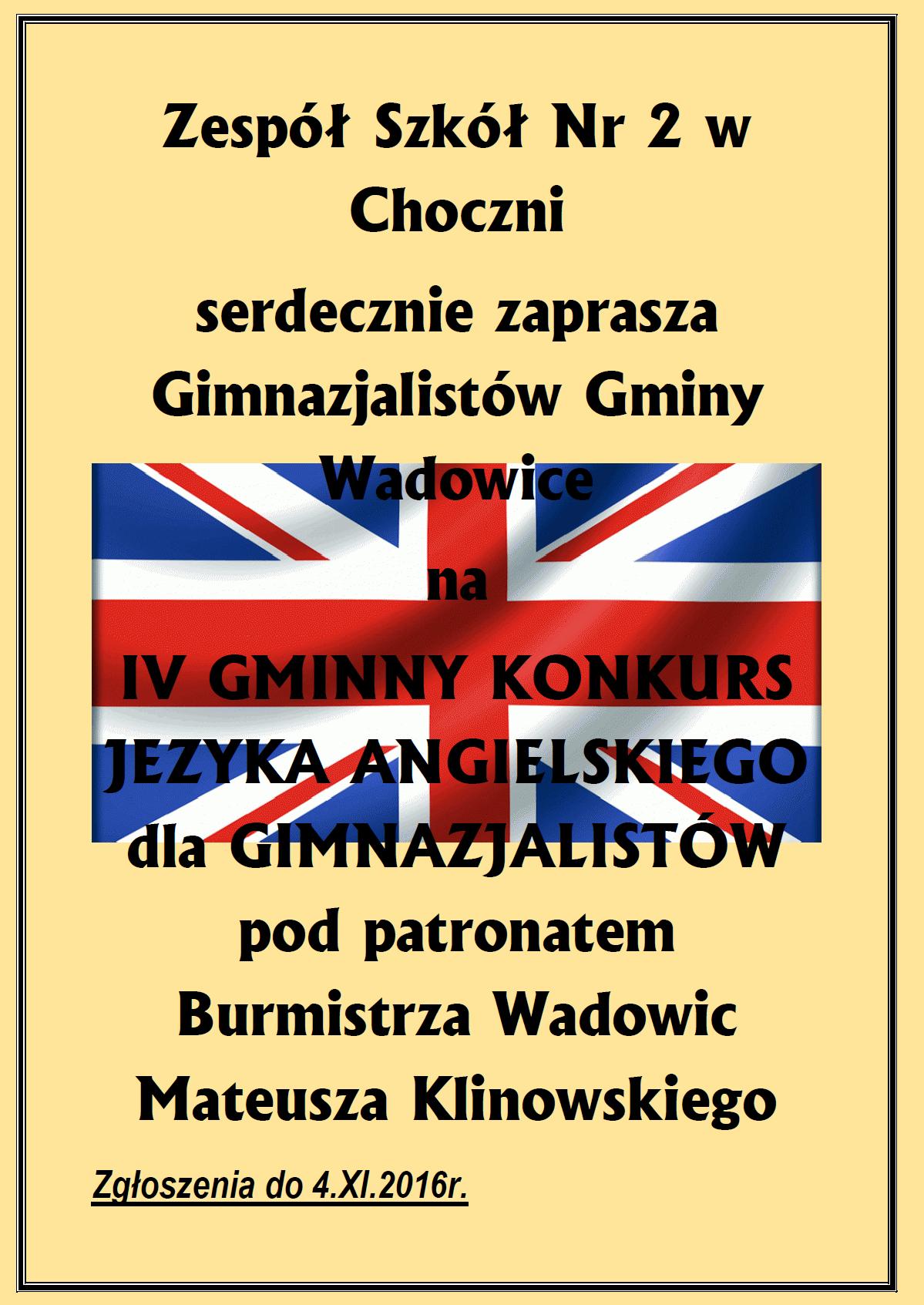 IV Gminny Konkurs języka angielskiego dla gimnazjalistów