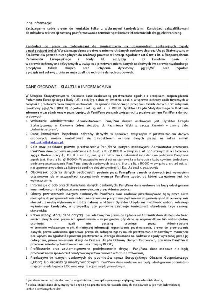 ogloszenie ankieter US 20 02 2020 2 724x1024 - Informacja o naborze na stanowisko ankietera w Urzędzie Statystycznym w Krakowie.