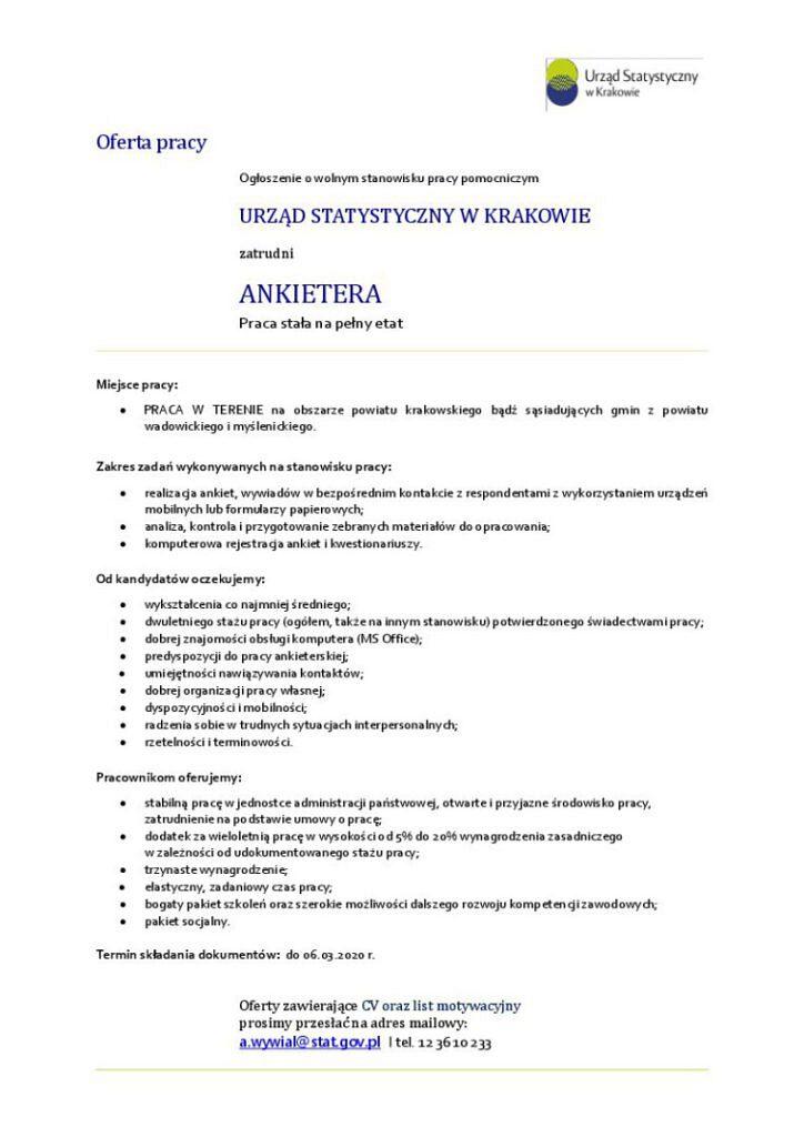 ogloszenie ankieter US 20 02 2020 724x1024 - Informacja o naborze na stanowisko ankietera w Urzędzie Statystycznym w Krakowie.