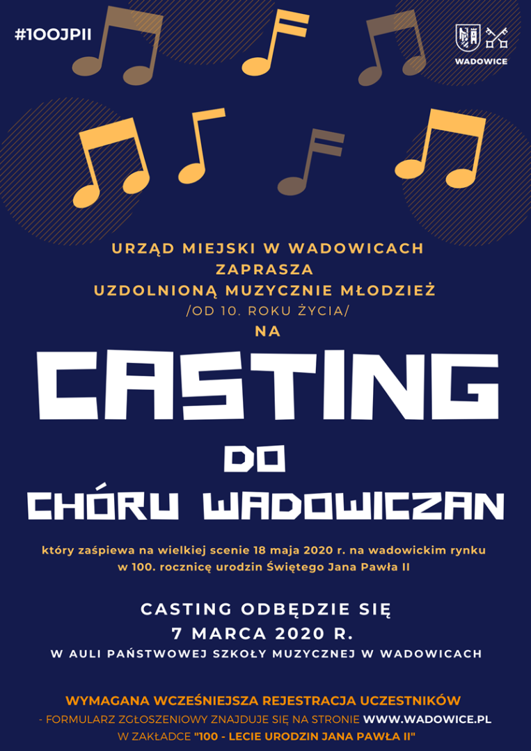 Zgłoszenie na casting do Chóru Wadowiczan