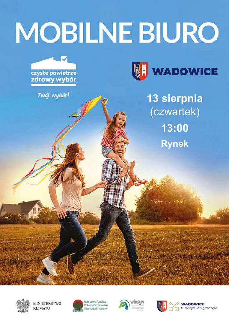 """Mobilne biuro programu """"Czyste Powietrze"""" na Rynku w Wadowicach!"""