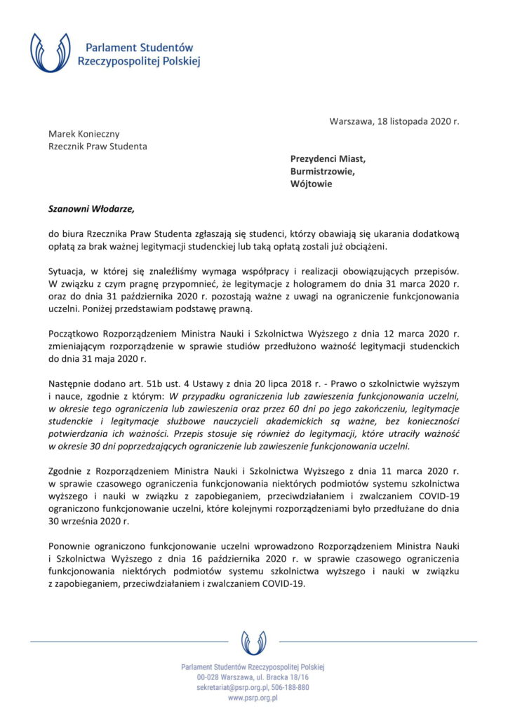 pismo Rzecznika Praw Studenta do wlodarzy 1 724x1024 - Informacja o przedłużeniu ważności legitymacji studenckich