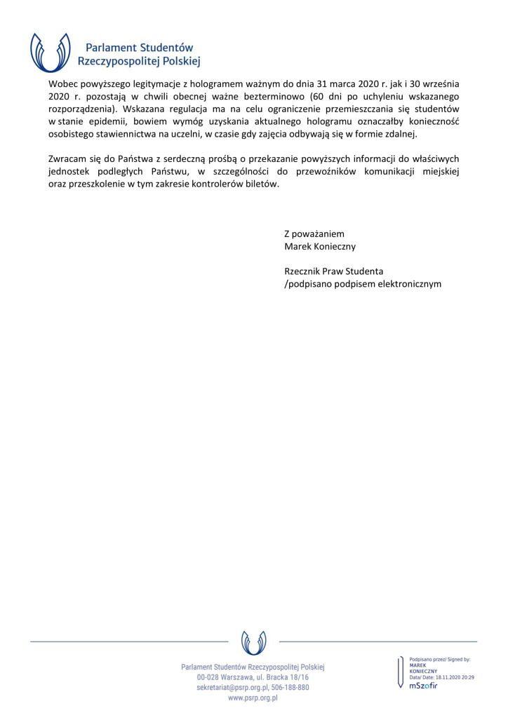 pismo Rzecznika Praw Studenta do wlodarzy 2 724x1024 - Informacja o przedłużeniu ważności legitymacji studenckich