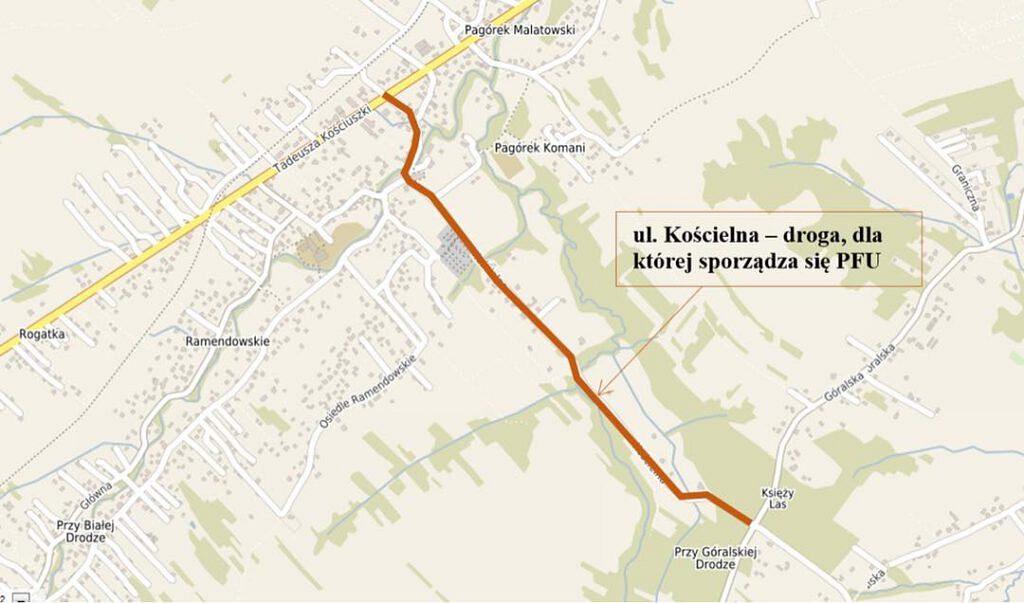 Koscielna 1024x603 - Jest plan na kolejną ścieżkę rowerową!