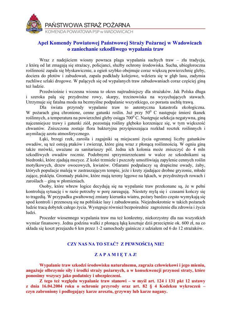 Apel o trawy 2021y 1 724x1024 - Apel Straży Pożarnej o zaniechanie szkodliwego wypalania traw
