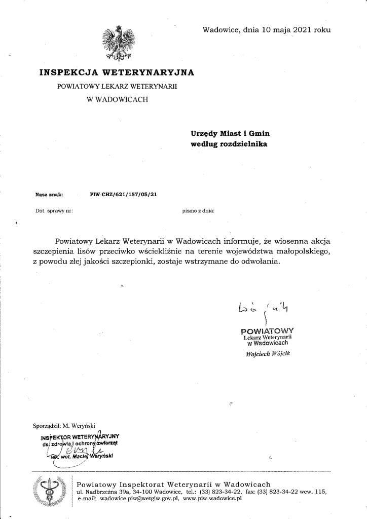 Informacja 1 724x1024 - Informacja dot. odwołania wiosennej akcji szczepienia lisów przeciwko wściekliźnie