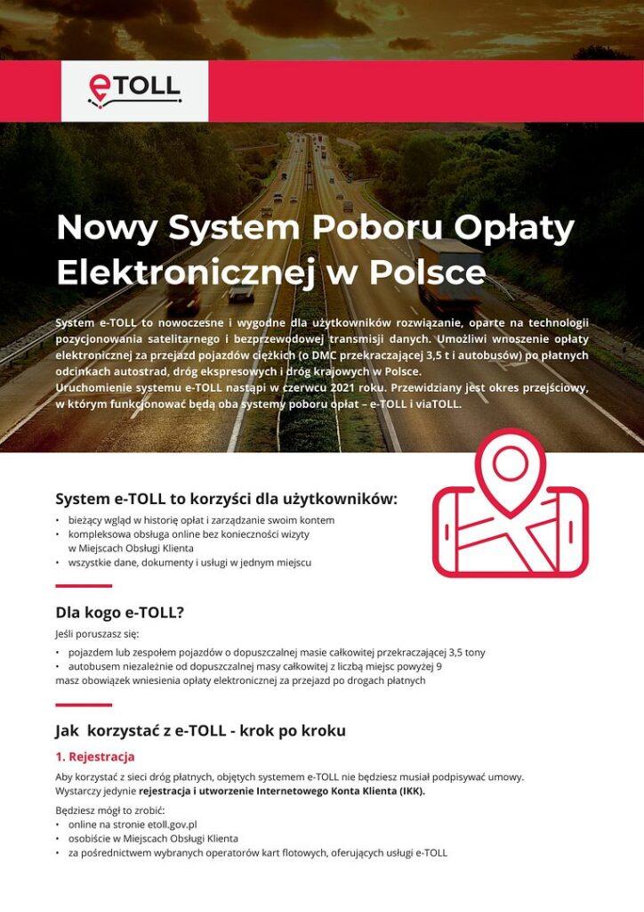 eTOLL ulotka A4 PL 1 724x1024 - Nowy system poboru opłaty drogowej e-TOLL