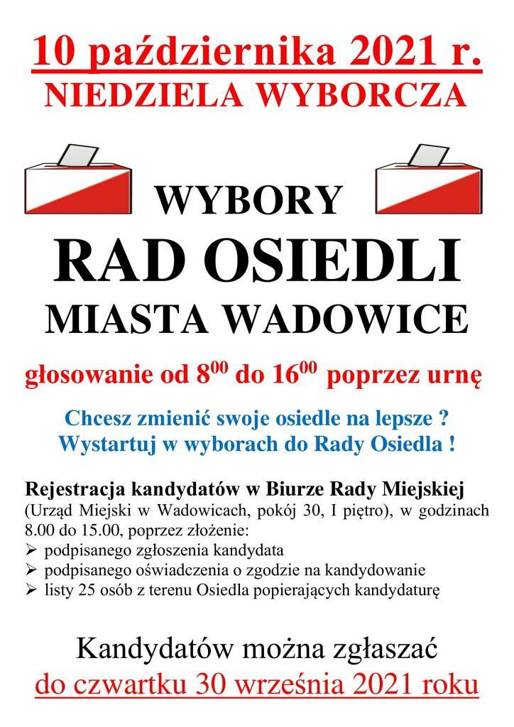 PLAKAT 1 724x1024 - Wybory Rad Osiedli Miasta Wadowice
