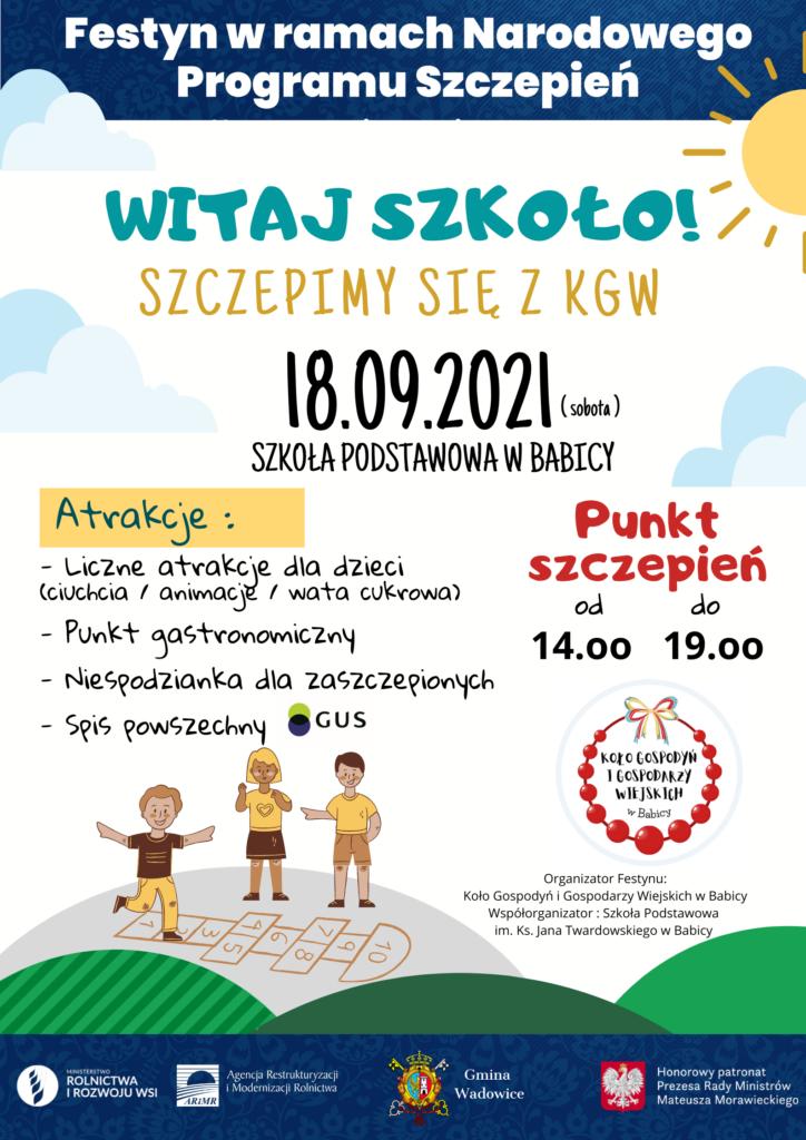 """04.09.2021 4 1 724x1024 - """"Witaj Szkoło"""" Szczepimy się z KGW - Festyn w Babicy"""