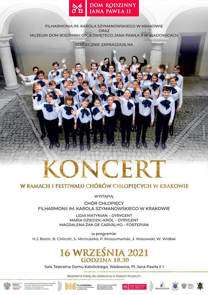 koncert plakat 724x1024 - Koncert Chóru Chłopięcego Filharmonii im. Karola Szymanowskiego w Krakowie - Wadowice 16.09.2021