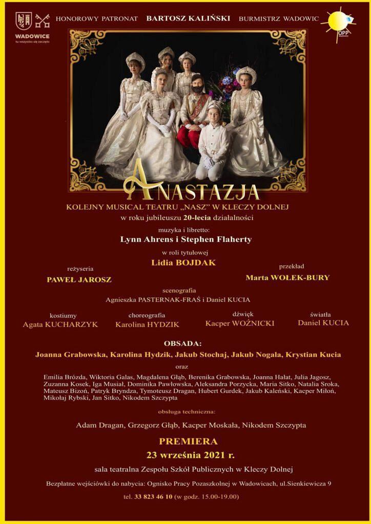 """plakat 724x1024 - Uroczysta premiera spektaklu """"Anastazja"""""""