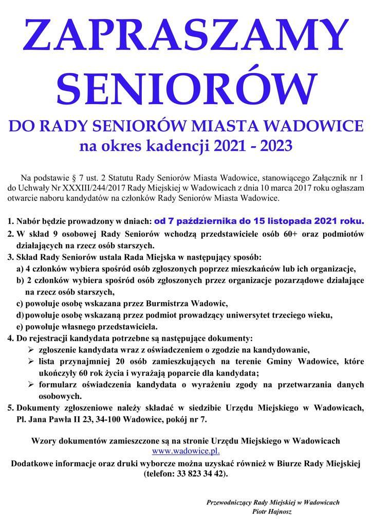 PLAKAT 1 1 724x1024 - Zapraszamy seniorów do Rady Seniorów Miasta Wadowice